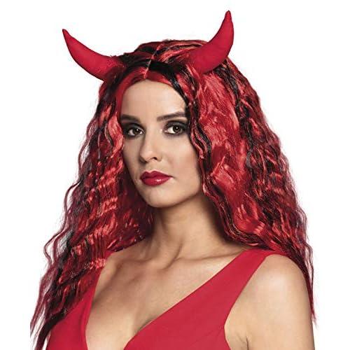 Boland 85604 - Parrucca Diavolo con Corna, Colore: Rosso