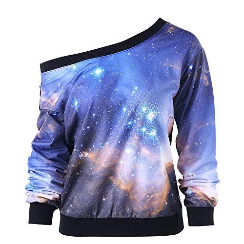 Damen Lose Rainbow Off Shoulder Pullover MYMYG Bluse Sweatshirt Langarm Shirts Frauen Slash Neck Printing Lange Ärmel Tops (M1-Blau,EU:44/CN-2XL)