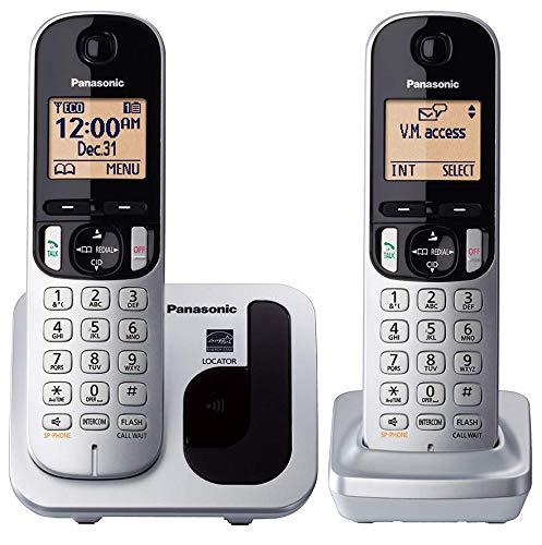 Panasonic KX-TGC212 - Teléfono fijo inalámbrico Dúo (LCD, identificador de llamadas, agenda de 50 números, tecla de navegación, modo ECO, reducción de ruido), color plata