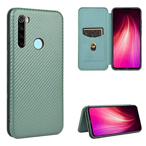 Caja del teléfono Celular WHHHRH para Xiaomi Redmi Note 8 Textura de Fibra de Carbono Magnético Horizontal Flip TPU + PC + Funda de Cuero PU con Ranura para Tarjeta (Color : Green)