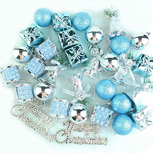 ZHANGJ 32 Piezas de decoración del árbol de Navidad Lago Azul Bola de Plata Colgante árbol Colgante Vacaciones Fiesta Decoraciones para el hogar, Azul, China