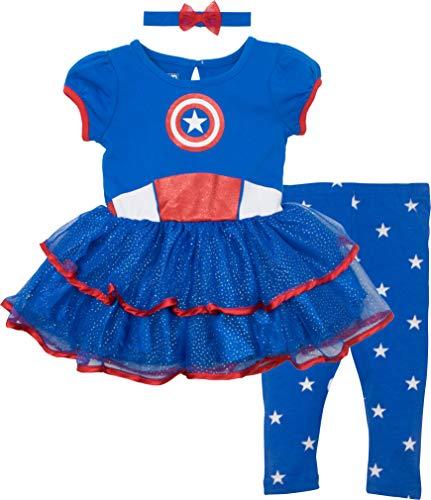 Marvel Captain America Baby Girls' Costume Dress, Leggings and Headband Set (6-12 Months)