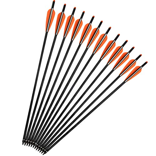 YLA Crossbow Bolts Arrows 18 Mixed Carbon Shafts Outdoor Hunting or Targets Practice with Changeable Tips 12 pcspack