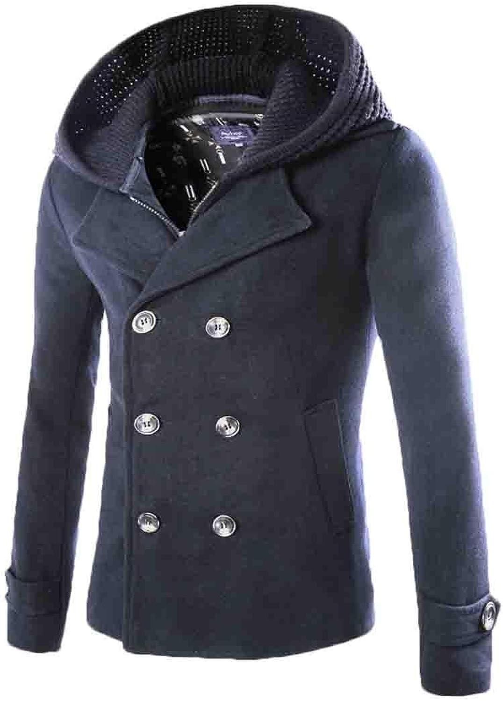 f2f23664a9b Men Classic Double-Breasted Wool Fashion Pea Coat Coat Coat with Removable  Hood 8f3fa5
