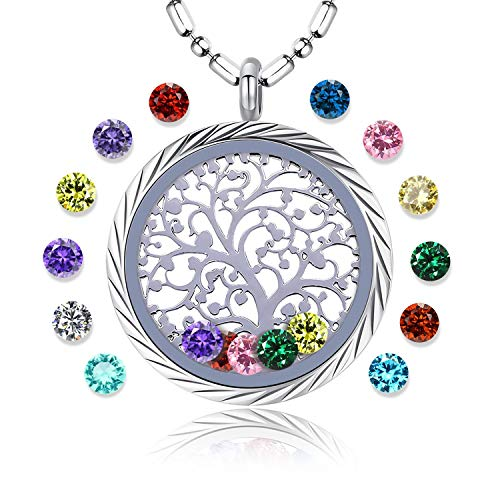 Family Tree of Life Floating Living Memory Locket Pendant Necklace with Birthstone, All Charms Included (stainless-steel-engraving)