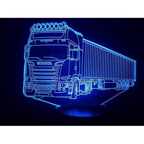 SCANIA (3), Lampada illusione 3D con LED - 7 colori.
