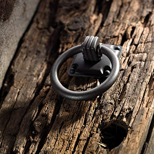 Möbelgriff TORRO 32 x 32 mm Ring-Ø 47 mm Eisen antik Hängegriff Schrankgriff Schubladengriff von Junker Design