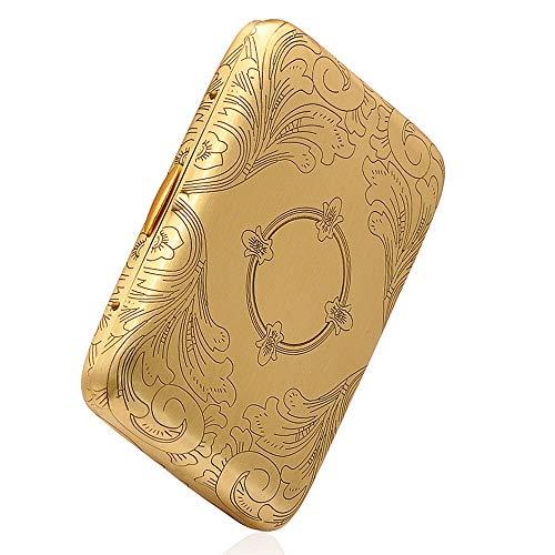 Miss Bling - Mechero de cobre puro con volantes de latón para coleccionistas de regalos (combustible no incluido), Cigarette Case Pattern Symmetry, 3.7 x 2.7 x 0.8in