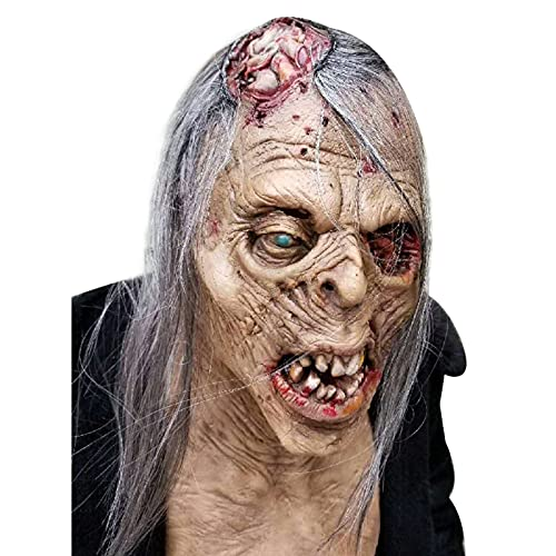 Halloween Horror Bloody Zombie Creepy Mask Emulsion Skin with Long Hair Halloween Cosplay Party Prop