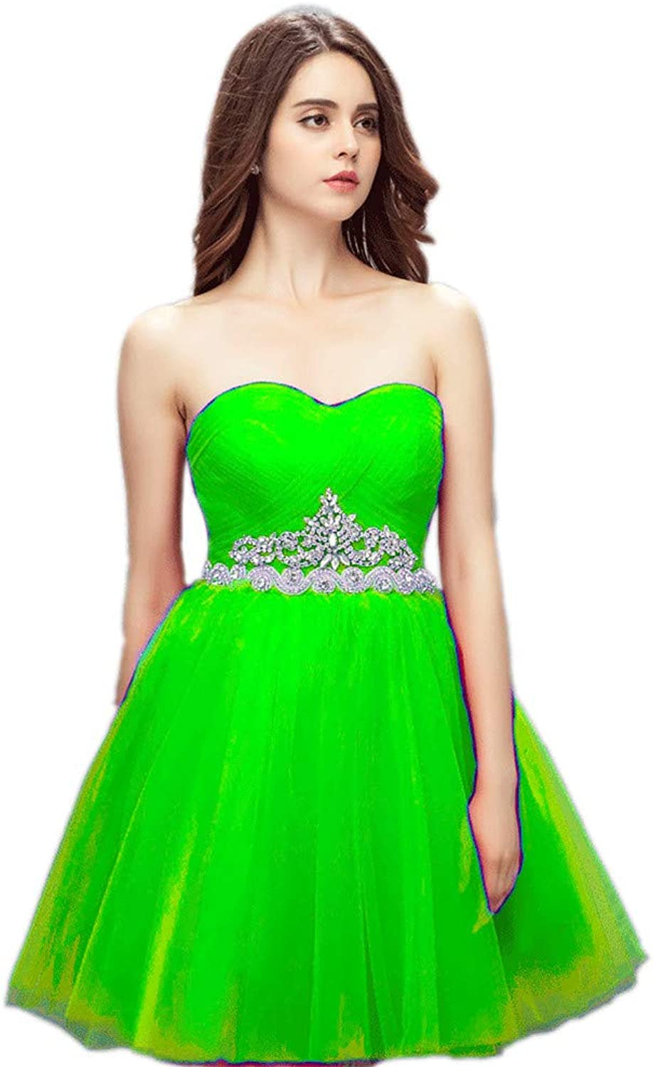 Datangep Sweetheart Tulle Prom Dresses Short Crystal Homecoming Pageant Gowns