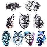 Gwolf 9hojas de tatuaje de lobo temporal, personalidad pegatinas de tatuaje de lobo nueva protección del medio ambiente impermeable flor brazo tatuaje pegatinas realista 3D animal patrón tatuaje papel