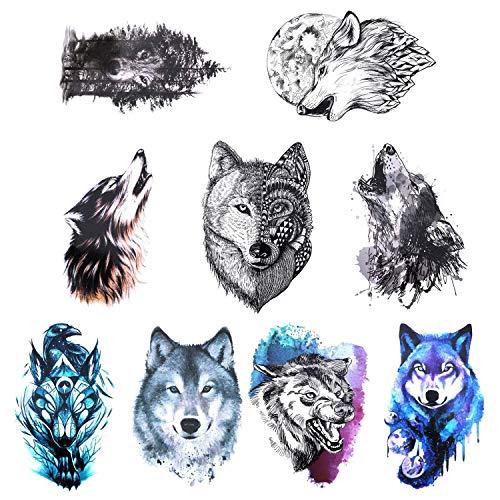 Gwolf 9hojas de tatuaje de lobo temporal