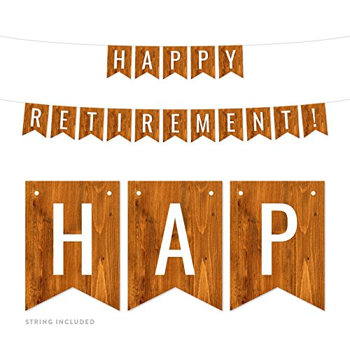 Andaz Press Rustic Barn Wood Retirement Party Banner Decorations, Happy Retirement!, Approx 5-Feet, 1-Set, Birthday Wedding Baby Shower Colored Themed Hanging Pennant Decor