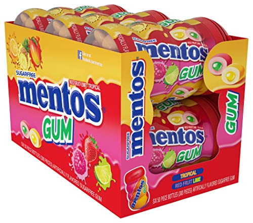 Mentos Sugar-Free Chewing Gum, Tropical, Red Fruit and Lime, 50 Piece Bottle (Pack of 6 Bottles)