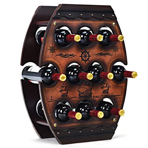 COSTWAY Weinregal Holz, Flaschenregal für 10 Flaschen, Weinflaschenhalter Freistehend, Weinständer Deko, Flaschenständer braun