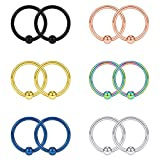 Acefun 16G 10mm Captive Bead Piercing Ring Stainless Steel Nose Septum Tragus Daith Helix Lip Eyebrow Hoop Rings 12PCS (Mix Color)