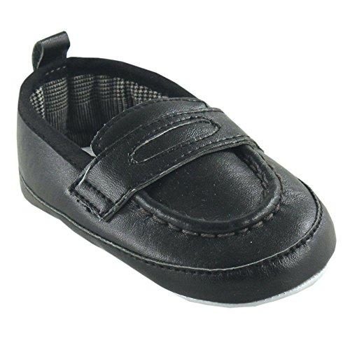 Luvable FriendsBoy's Slip-on Shoe for Baby - K - Chaussure à enfiler pour bébé garçon mixte enfant , noir (noir), 0-6 Mois
