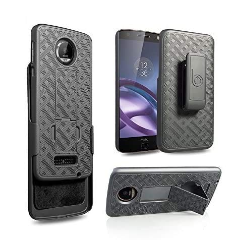 BELTRON Motorola Moto Z Droid Slim Protective Rubberized Grip Case & Swivel Belt Clip Holster Combo w/Built-in Kickstand (NOT Compatible with Moto Z Force or Z Play)