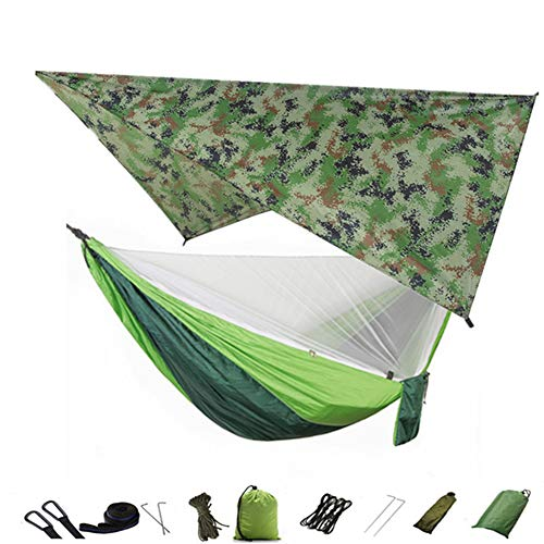 HS-Zak Miller 3 in 1 Camping Hammock with Mosquito Net And Tarp Rain Cover 300Kg Load Capacity Nylon Double Hammock Lightweight For Travel,Hiking,Backpacking,Picnic,Camou and lightgreen