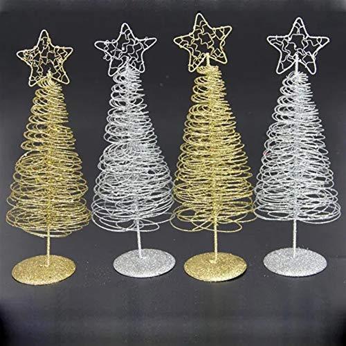 Decoraciones de Navidad Navidad 2017 Mini Hierro Árbol de Navidad Oro Plata Ornamento Mesa Escritorio Decoración