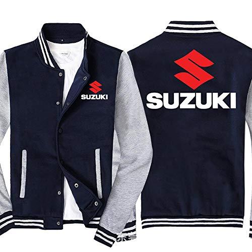 Männer Pullover Jacke Suzuki Printed Sweatshirt Baseball-Trikot Langarm-Zip Trainingsjacken - Teen Gift Blue Gray-4XL