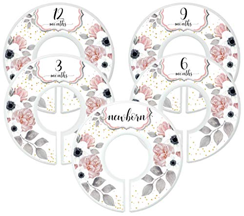 Mumsy Goose Nursery Closet Dividers Closet Organizers Baby Girl Clothes Dividers Blush Pink Black Floral