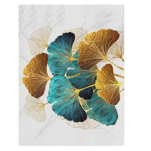 Aujelly Diamond Painting, 5D DIY Diamant Stickerei Malerei Full Drill Strass Painting Runden Kristall Gemälde Kreuzstich für Erwachsene, Home Wall Decor (30x40cm Blätter)