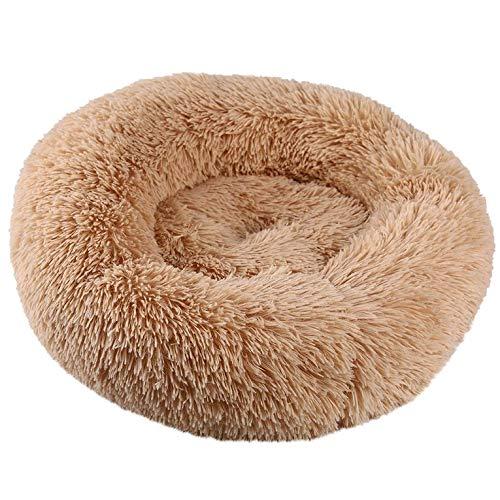 Appearanice Warm Fleece Dog Bed Fluffy Winter Warm Round Pet Donut Cuddler Lounger Cojín, Albaricoque, M diámetro 60cm