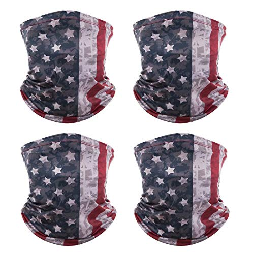 4 Pack American US Flag Face Bandana Balaclava for Men Women, Sun UV Dust Protection Reusable Washable Half Mask Scarf, Cloth Fabric Neck Gaiter Headwear for Cycling, Hiking, Fishing, Motorcycle-4