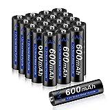 CITYORK AAA Pilas Recargables 20 Piezas - AAA 600mAh 1.2V NI-MH Baterías Recargables, Precargadas, Baja Autodescarga Ideal para Luces Solares, Control Remoto, Juguetes Eléctricos