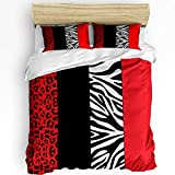 Image Duvet Red 3Pieces Bedding Sets Home Comforter Leopard and Zebra Animal Print Bedspread Bed Sheet for Queen Size Adult Kids,Flat Sheet,2 Pillow Shams Set