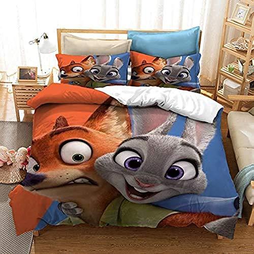 QWAS Animal Ci-ty - Juego de cama (funda nórdica de 1200 x 200 cm y funda de almohada de 50 x 75 cm), diseño de conejo y zorro