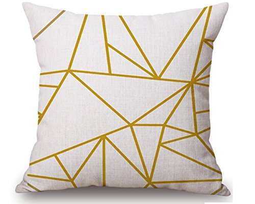 SoulSisters Living Funda de cojín decorativa de 45 x 45 cm, triangular, de algodón y lino