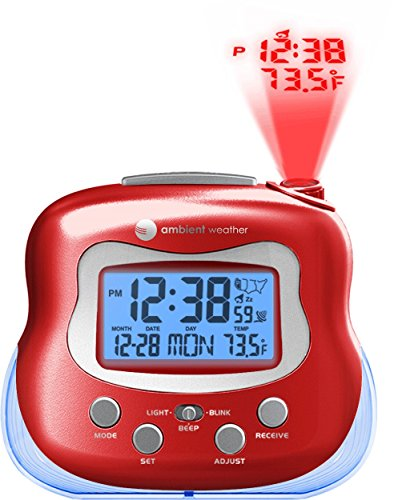 Ambient Weather RC-8370 Radio Controlled Projection Clock with Indoor Temperature (Red)