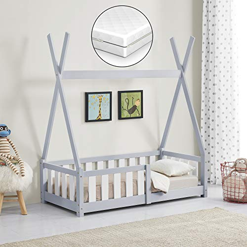 [en.casa] Kinderbett mit Matratze 70x140cm Hellgrau mit Rausfallschutz im Tipi Design aus Kiefernholz Jugendbett Bett Holzbett Hausbett