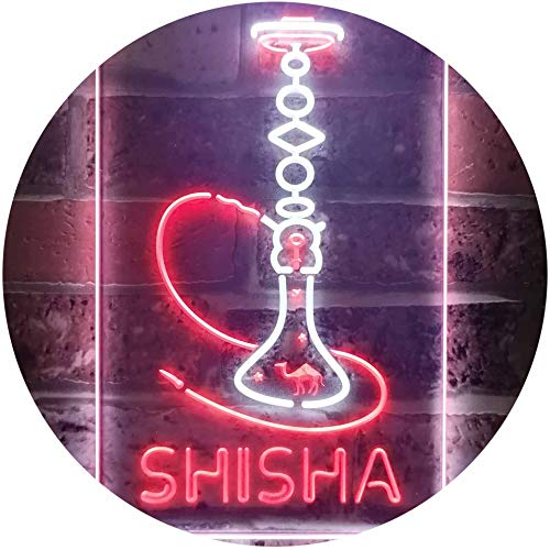 ADV PRO Hookah Shisha Shop Home Room Man Cave Décor Dual Color LED Barlicht Neonlicht Lichtwerbung Neon Sign Weiß & Rot 210 x 300mm st6s23-i3208-wr