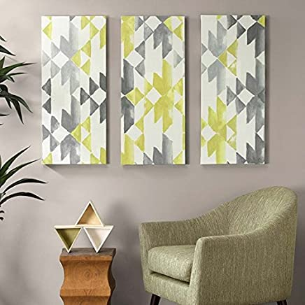 Ink+Ivy Yellow Sierra Grey White Canvas Wall Art 15X35 3 Piece Multi Panel, Geometric Modern/Contemporary Wall Décor