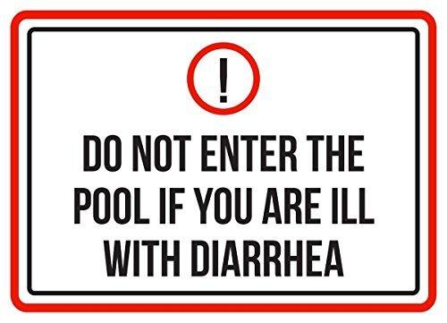 PeteGray Panneaux métalliques en Aluminium avec Inscription Do Not Enter The Pool If You are Ill with Diarrhea Spa