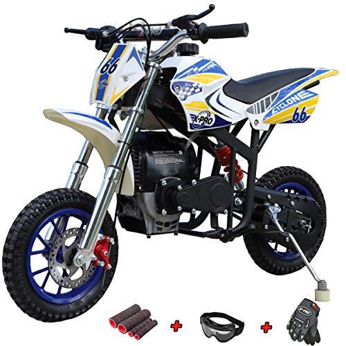X-PRO Cyclone 40cc Kids Dirt Bike Mini Pit Bike Dirt Bikes Motorcycle Gas Power Bike Off Road (Blue)