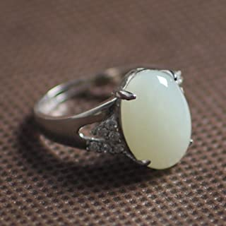 沫廷珠宝 和田玉戒指 镶嵌925银 白玉戒指 附证书 ML1401