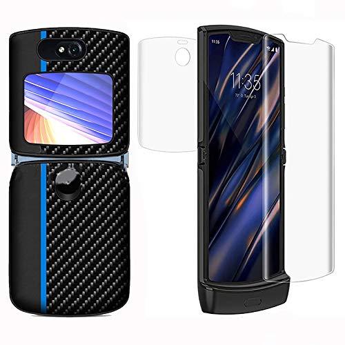 Slim PU Leder Tasche Hülle mit Bildschirmschutzfolie Set passend für Motorola Razr 5G Handy Zubehör (Blue Line)