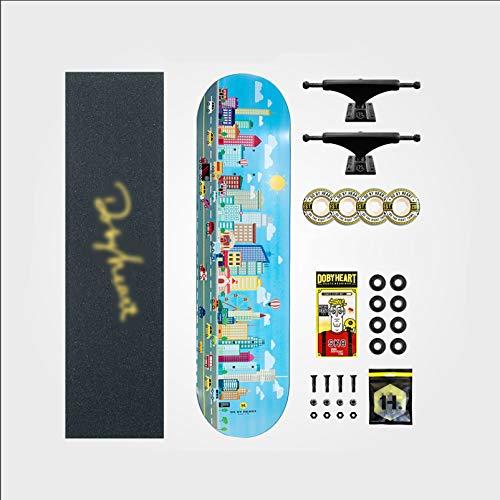IJNBHU Tabla Skateboard, 31'x 7.8' Skateboard para Principiantes, Cubierta de Arce Duro de 7 Capas, para niños Principiantes y Adultos jóvenes, Multicolor
