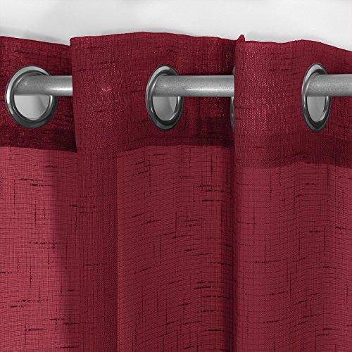 Frenessa 2X Visillos Cortinas Transparentes Voiles con Ojales Modernos Elegantes para Ventana Hogar Salón Dormitorio Balcón Hotel, 140x260cm, Patrones Cruzados, Rojo Vino