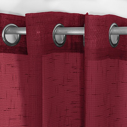 Frenessa 2X Visillos Cortinas Transparentes Voiles con Ojales Modernos