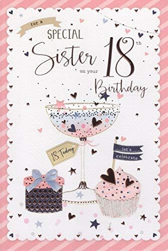 Geburtstagskarte / Glückwunschkarte, für Schwestern zum 18. Geburtstag, Design Rosa Luftballons, englische Aufschrift