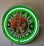 Reloj de neón, diseño de chica pinup sinclair Sign, iluminación verde neón...