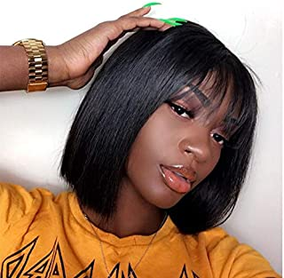 Quinlux Wigs 13X4 Lace Front Wig 150% Density Air Bangs Natural Color Short Bob Wigs Brazilian 100% Human Hair For Women