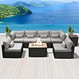 DINELI Patio Furniture Sectional Sofa with Gas Fire Pit Table Outdoor Patio Furniture Sets Propane...