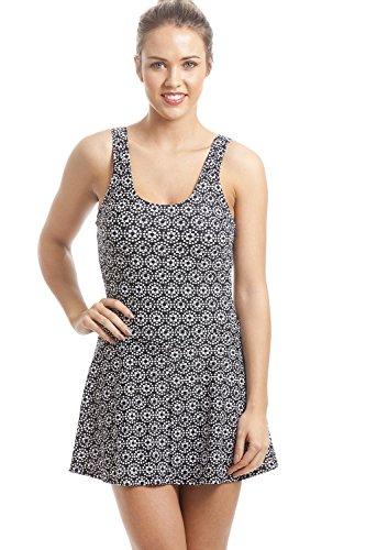 Camille Bañador con Falda Negra para Mujer diseño geométrico Blanco