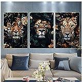 juou Wandkunst Schwarzer Löwe Tiger Leopard mit Blume